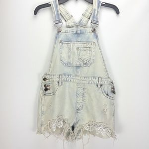 ☆hot kiss white/blue shorts overalls☆